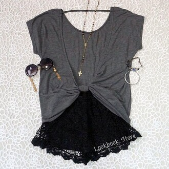 shorts jewels grey top grey shirt sunglasses