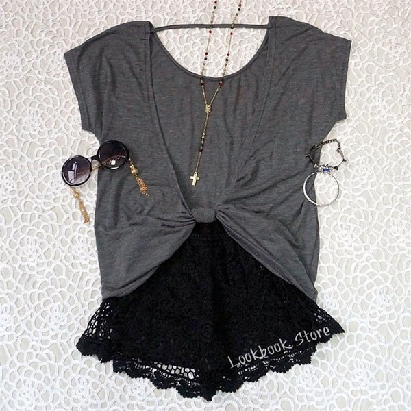 jewels shorts grey top grey shirt sunglasses