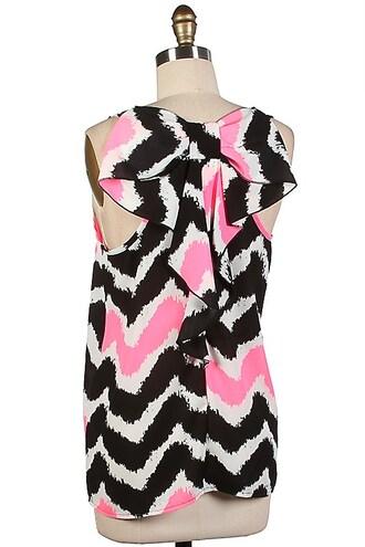 tank top neon pink bow back blouse chevron print top