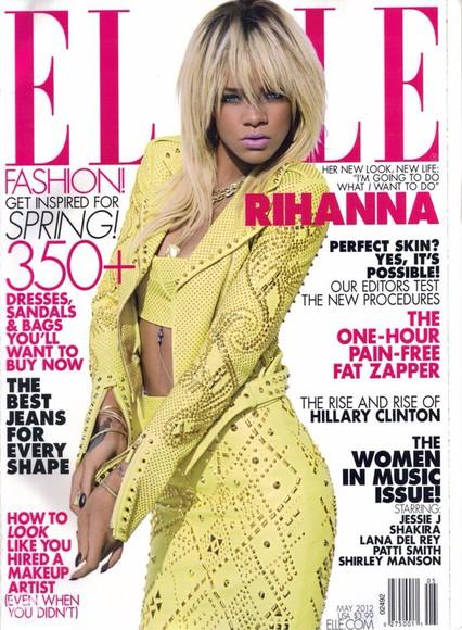 rihanna crop tops studded pencil skirt yellow studded jacket studs fashion blonde hair elle magazine cute dress jacket