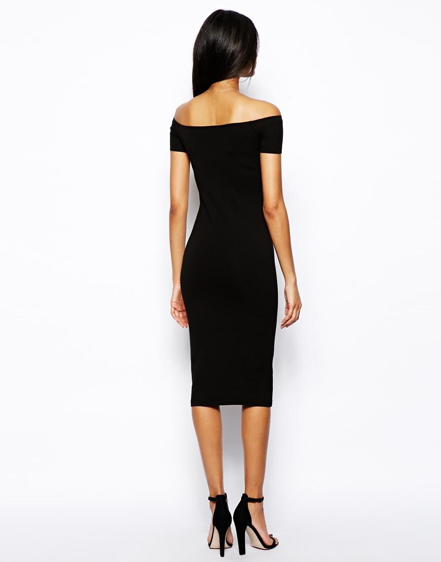 ASOS Midi Bardot Bodycon Dress at asos.com