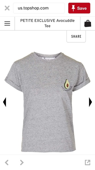 t-shirt grey short sleeve let's avocuddle  avocado picture topshop