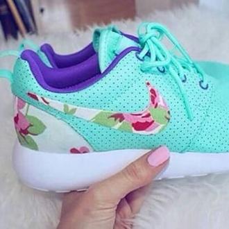 shoes floral tick mint nike