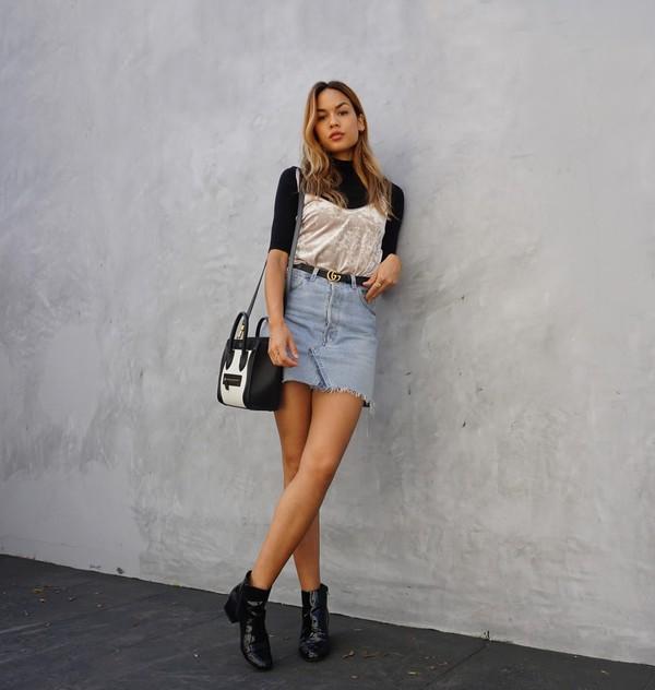 1ed284a372c2 croptopia blogger top skirt shoes bag belt