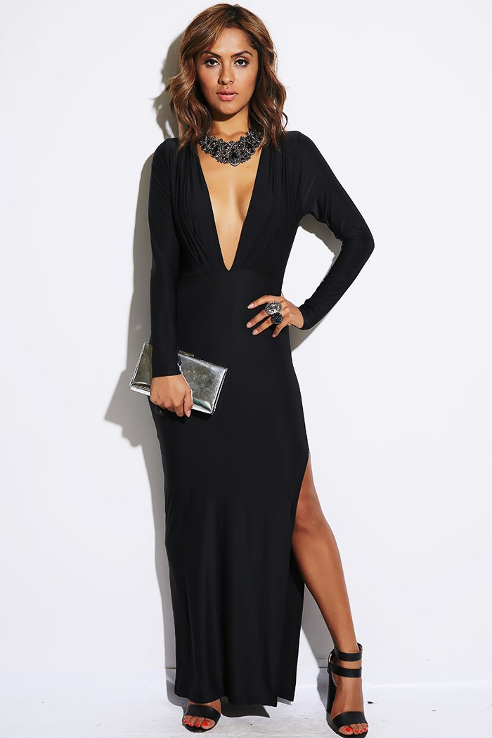 Trendy Cute black long sleeve pleated deep v neckline backless high slit evening maxi dress for cheap at online clothing shop!
