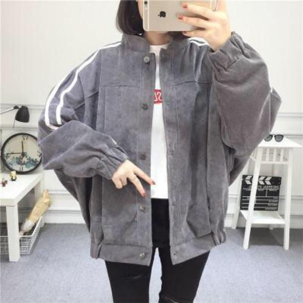 jacket girly grey button up white stripes corduroy cord