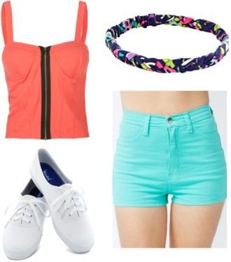 shorts corset top light blue headband pink high waisted shorts zip shoes