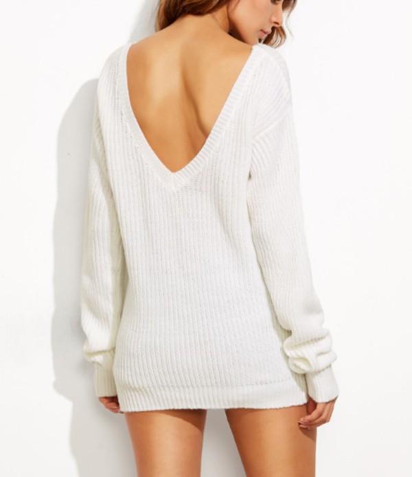 sweater girl girly girly wishlist white white sweater knit knitted sweater v neck backless v back