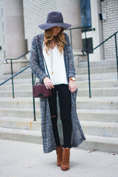 twenties girl style,blogger,cardigan,tank top,top,shoes,hat,jewels,bag,felt hat,long cardigan,shoulder bag,black jeans,ankle boots,brown boots