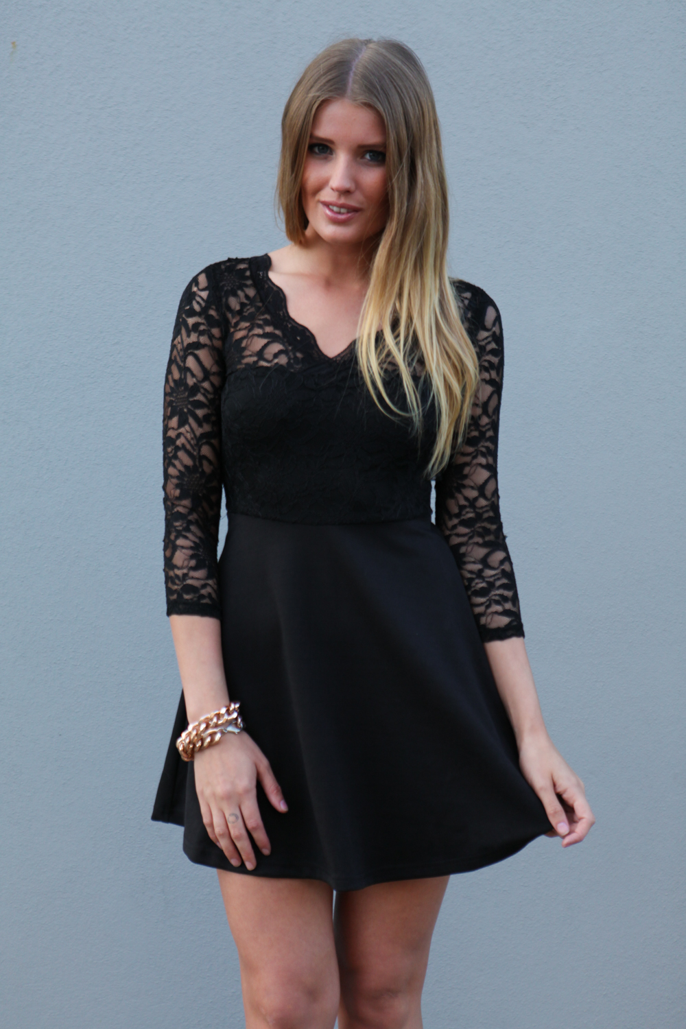 Little Black Dress - Black Lace Skater Dress with | UsTrendy