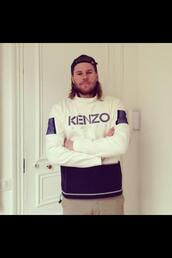 sweater,pull,kenzo,blue,white