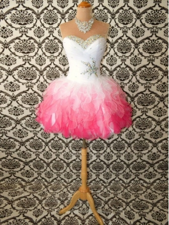 Sweetheart White/Red Mini Rhinestone Organza prom dress/homecoming dress [D0067] - $172.99 : 24inshop