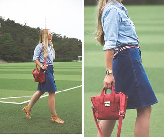 my blonde gal blogger skirt bag shirt jewels belt shoes sunglasses