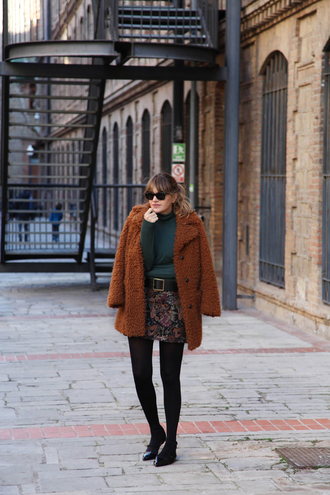 my daily style blogger coat skirt belt sweater