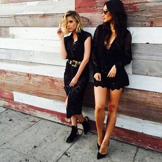 jumpsuit black dress high low dress romper ashley benson shay mitchell sunglasses