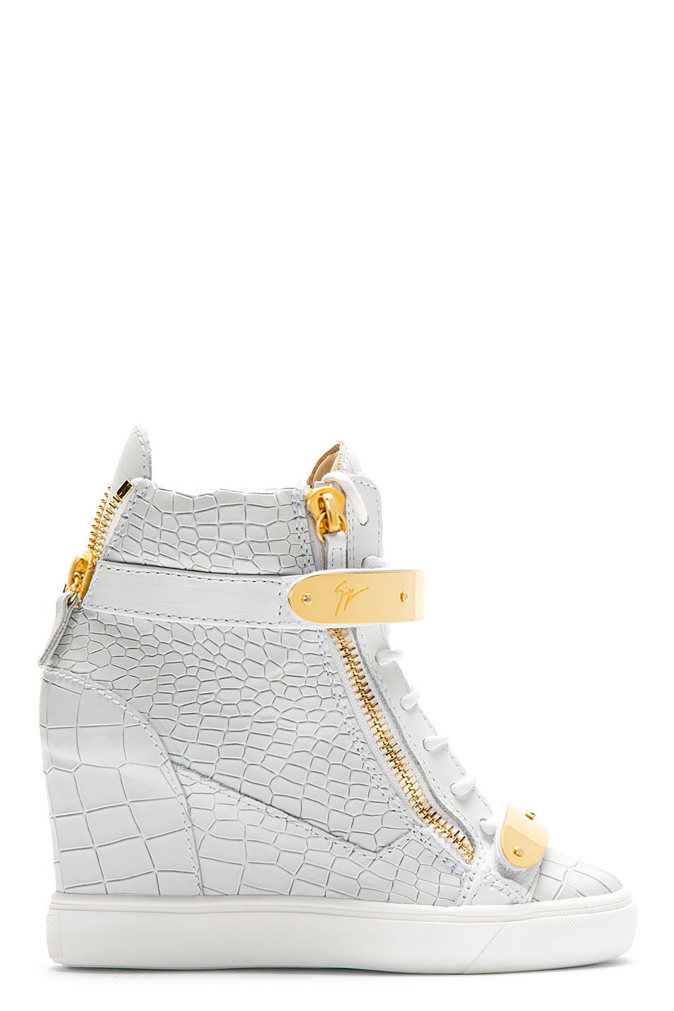 Giuseppe zanotti white lorenz high_top wedge sneakers