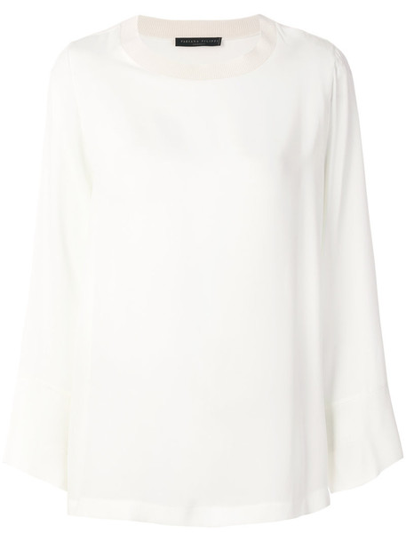 blouse women spandex white silk knit top