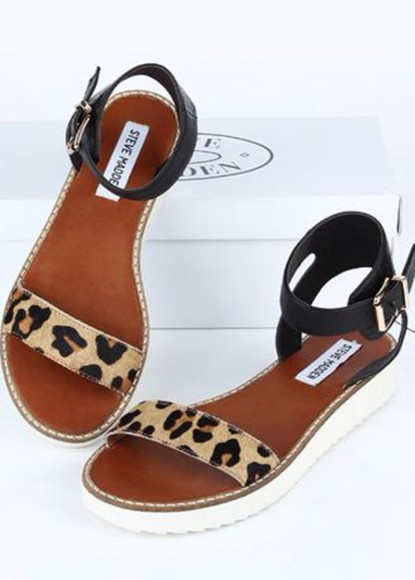 shoes leopard print steve madden sandals Choies