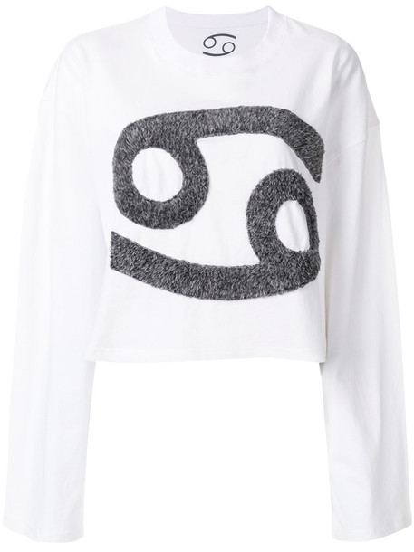 69 - faux fur logo top - women - Cotton - M, White, Cotton