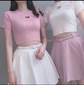 shirt,pink,white,heart,baby pink,baby,american apparel,weheartit,kawaii,kawaii grunge,kawaii outfit,kawaii shirt,skirt,pink skirt,white skirt,kfashion,korean fashion,crop tops