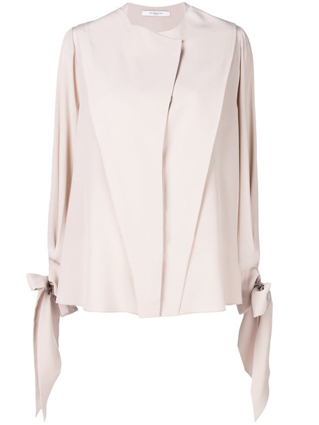 Givenchy blouse women draped nude silk top