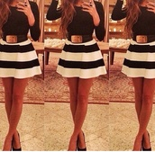 white,dress,stripes,skirt,belt,white with black stripes,skater dress,long sleeve dress,long sleeves,black and white,black and white dress,striped dress,black and white stripes,style,hair accessory,top,striped skirt,black white skirt,shirt,fashion,pattern,summer,outfit,night dress,smart casual,casual,black dress,women belt,white dress