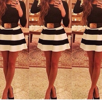 white dress skater dress long sleeve dress long sleeves black and white black and white dress striped dress black and white stripes skirt style hair accessory top striped skirt black white skirt black dress women belt fashion white dress