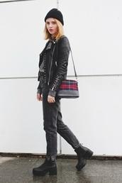 kristina magdalina,blogger,belt,tartan,black jacket,mom jeans