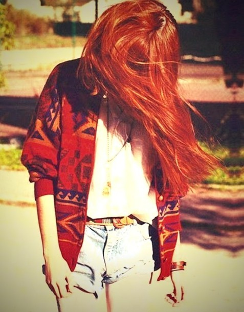 sweater red orange jacket tumblr hair shorts outfit belt