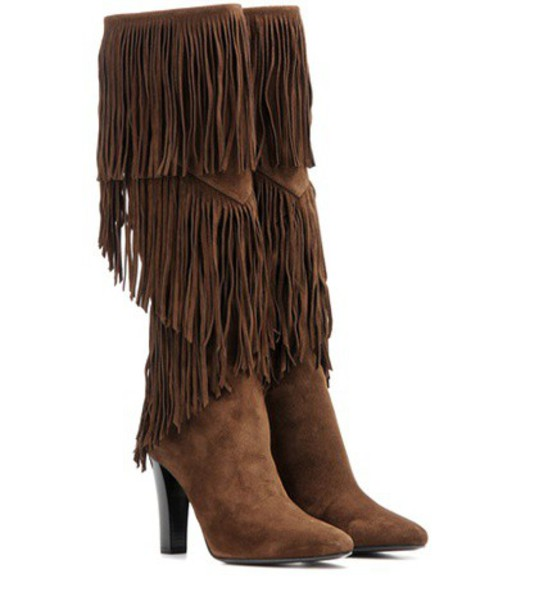 Saint Laurent boots suede boots suede brown shoes