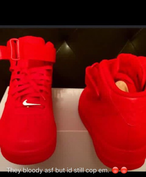 Shoes: red, red shoes, tumblr, dope, cool, blood, nike - Wheretoget