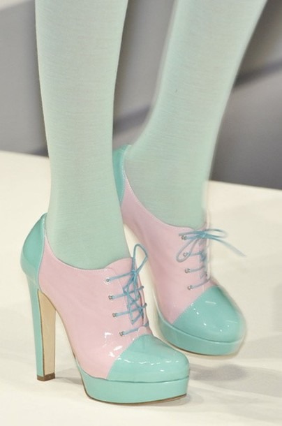Shoes: mint pastel kawaii cute pink high heels heels lolita