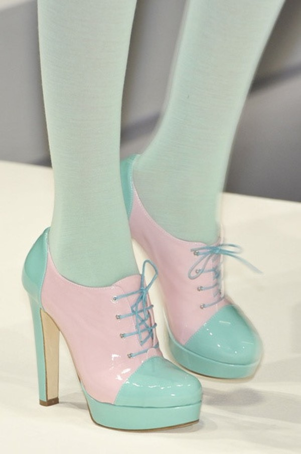 shoes mint pastel kawaii cute pink high heels heels lolita dope style color/pattern pastel goth pastel heels cute high heels feiry fairy blue tie