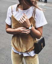 top,tumblr,yellow,velvet,velvet top,t-shirt,white t-shirt,necklace,gold necklace,bag,black bag,pants,velvet pants,matching set,black watch,watch,ring,gold ring,jewels,jewelry,gold jewelry