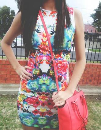 dress beautiful pink girly summer outfits gorgeous bodycon dress mini dress bag orange multicolor colorful blue cute dress lovely spring floral floral dress flower dress bird dress floral bodycon dress shoulder bag coral peach green