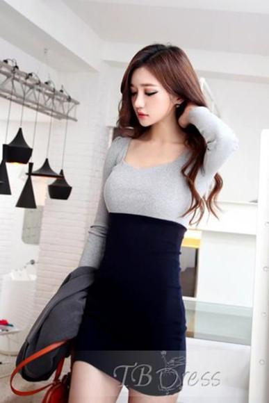 tbdress-club dress cute cute dress fashion girly grey dark blue dress grey dress