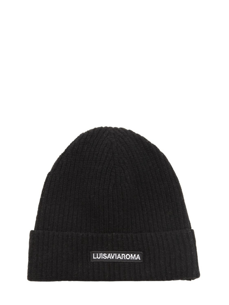LUISA VIA ROMA Lvr Logo Wool Beanie in black