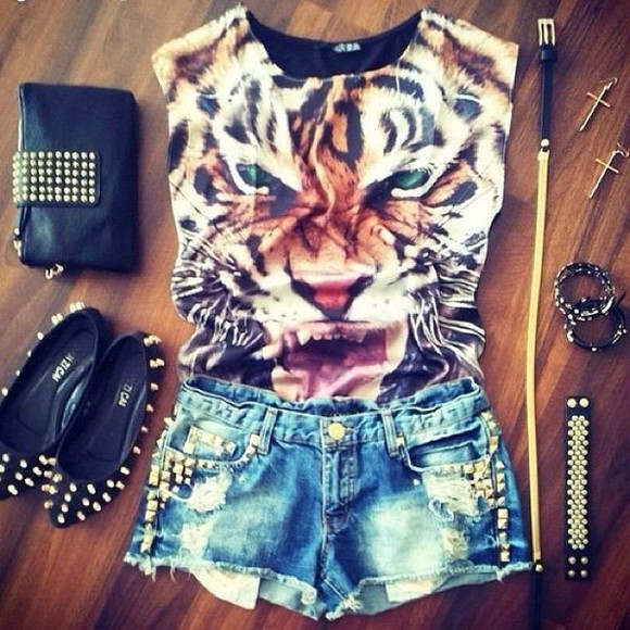 t-shirt tiger tiger shirt tiger face jewels