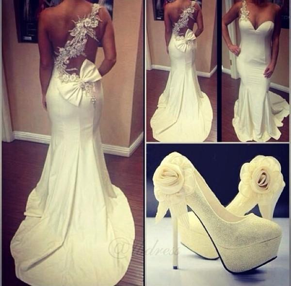 dress white dress wedding dress beautiful shoes