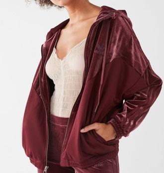 jacket velvet adidas adidas originals burgundy