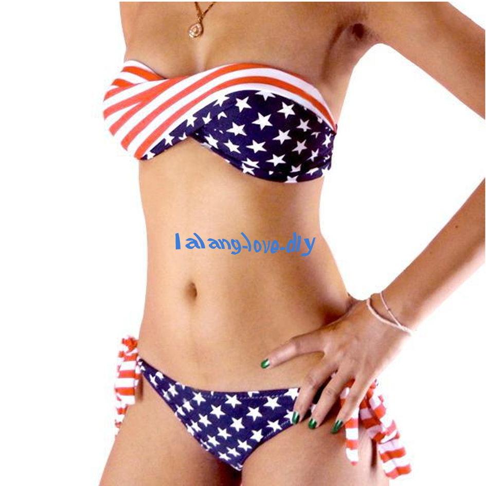 New twisted tie side star stripe strapless padded bikini american flag swimsuit