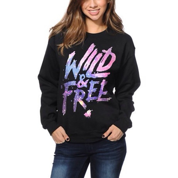 sweater wild and free galaxy letters black sweater