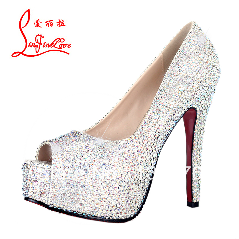 2014 Women pumps red bottom gold stiletto bridal high heels peep toe ladies shoe women's wedding shoes woman red sole heels-inPumps from Shoes on Aliexpress.com