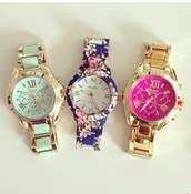 jewels,blue floral watch,gold watch,gold band,gold and mint green,roman numerals,watch,watches for women,watches online shopping,floral,blue,fushia,fuschia quartzite,gold,pink,flowers,print