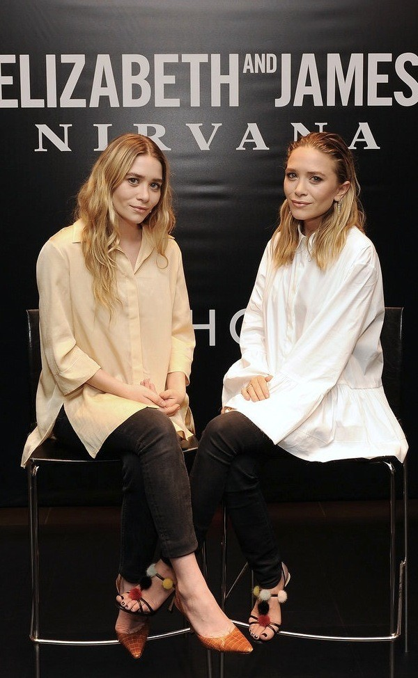 olsen sisters shirt jeans pants shoes pom pom sandals sandals sandal heels high heel sandals black sandals mary kate olsen ashley olsen olsen sisters white shirt nude shirt black jeans pumps