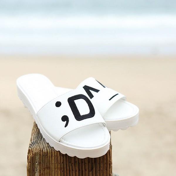shoes sandals trendy fashion style emoji fashion slip on shoes white sandals qupid