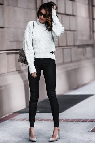 fashionedchic blogger sweater jeans shoes bag turtleneck sweater gucci bag high heel pumps black pants
