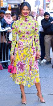 blouse,top,colorful,priyanka chopra,sandals,midi skirt,floral,skirt,spring outfits,spring