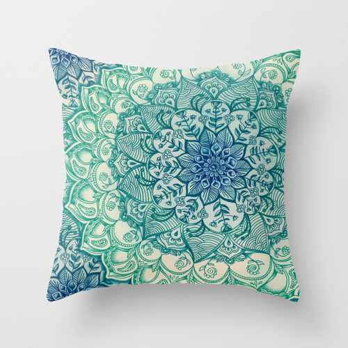 Emerald Doodle Throw Pillow by Micklyn | Society6
