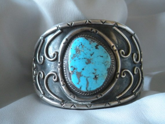 Vintage native american silver and turquoise cuff by mrsbud